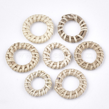 Handmade Reed Cane/Rattan Woven Linking Rings, For Making Straw Earrings and Necklaces, Ring, Antique White, 20~30x3~5mm, Inner Diameter: 10~15mm(X-WOVE-T006-151A)
