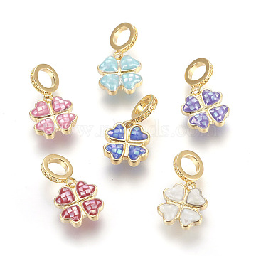 Brass Enamel European Dangle Beads, Large Hole Pendants, with Freshwater Shell, Four Leaf Clover, Golden, Mixed Color, 20mm, Hole: 5mm; Pendant: 10.5x11.5x3.5mm(KK-E763-05)