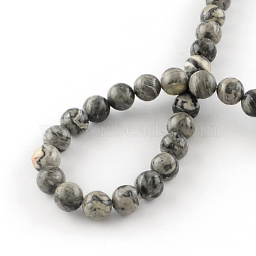 Natural Map Stone/Picasso Stone/Picasso Jasper Beads Strands, Round, 6.5mm, Hole: 1mm, about 63pcs/strand, 15.5 inches(X-G-S188-6mm)