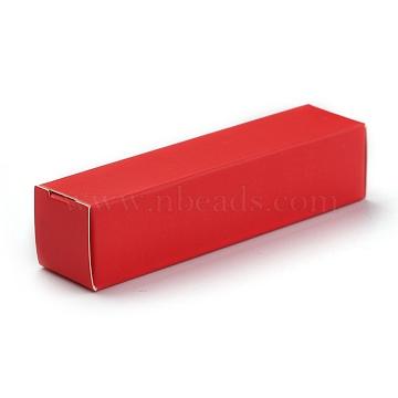 Foldable Kraft Paper Box, for Lipstick Packaging, Rectangle, Crimson, 14.5x4x0.15cm(CON-K008-B-06)
