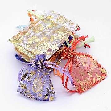 Gold Stamping Rose Flower Rectangle Organza Gift Bags, Jewelry Packing Drawable Pouches, Mixed Color, 12x10cm(X-OP-L006B-01)