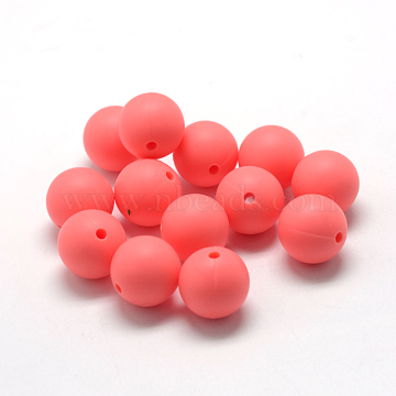 8mm LightCoral Round Silicone Beads