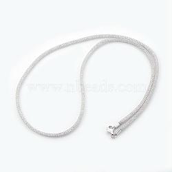 """Colliers à mailles en laiton, avec des perles de verre à l'intérieur, clair, platine, 20.5~21"""" (52~53.5 cm)(NJEW-F241-01P-C)"""