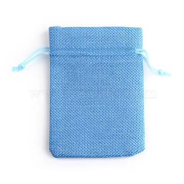 Polyester Imitation Burlap Packing Pouches Drawstring Bags, Dodger Blue, 13.5~14x9.5~10cm(X-ABAG-R005-14x10-20)