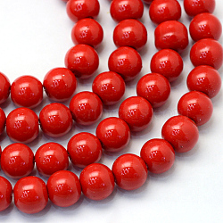 Baking Painted Glass Pearl Bead Strands, Pearlized, Round, Red, 5~6mm, Hole: 1mm, about 186pcs/strand, 31.4 inches(X-HY-Q003-5mm-55)