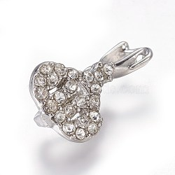 Pendentifs de bails de cheville en laiton strass, pour la moitié de perles percées, platine, 18x10x6mm, trou: 3x4 mm; broches: 0.8 mm(KK-F773-03P)