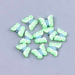 Cabochons en pâte polymère manuels, nail art décoration, papillon, moyen springgreen, 4.5~5.5x6~7x0.5~1 mm; environ 1000 PCs / sac(CLAY-S093-18B)
