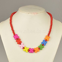Colorful Wood Necklaces for Kids, Children's Day Gifts, Stretchy, Red, 18inches(NJEW-JN00306-01)