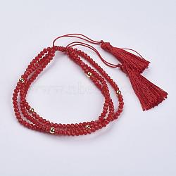 """Bracelets en verre multi-brins, avec des perles rondes en laiton et des pendants à gland en corde de nylon, rouge, 2"""" (52 mm)(BJEW-I237-01F)"""