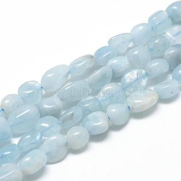 Natural Aquamarine Beads Strands, Oval, 6~10x4~7x4~7mm, Hole: 1mm; about 43~62pcs/strand, 15.7inches(G-R445-6x8-36)