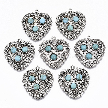 Tibetan Style Alloy Pendants, with Synthetic Turquoise, Cadmium Free & Lead Free, Heart, Antique Silver, 34.5x32x5mm, Hole: 1.6mm(X-PALLOY-R113-004-RS)