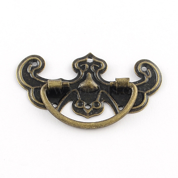 Wooden Box Pull Handle, Cabinet Door Handle Furniture Pull, Antique Bronze, 26x43.5x4.5mm, Hole: 1mm(IFIN-R203-43AB)