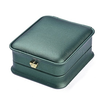PU Leather Pendant Box, with Golden Iron Crown, for Wedding, Jewelry Storage Case, Rectangle, Dark Green, 3-1/4x2-7/8x1-1/2 inch(8.4x7.3x3.7cm)(LBOX-A002-02C)