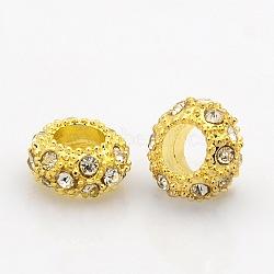 Or grade alliage de tonalité un strass perles, Perles avec un grand trou   , rondelle, cristal, 11x6mm, Trou: 5mm(CPDL-J022-11x6mm-01G)