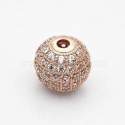 Perles rondes de couleur claire de zircone cubique CZ de grade AAA de micro pave, Sans cadmium & sans nickel & sans plomb, or rose, 10mm, Trou: 2mm(KK-O065-10mm-05RG-NR)