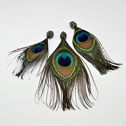 Peacock Feather Big Pendants, with Polymer Clay Rhinestone and Brass Findings, Platinum, DarkGreen, 102~147x40~68x10mm, Hole: 2mm(RB-I074-01)