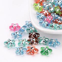 Métal enlacée perles acryliques, étoiles, couleur mixte, environ 10 mm de diamètre, épaisseur de 4mm, Trou: 1mm(X-PB21P9226)