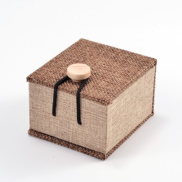 Rectangle Wooden Ring Boxes, with Burlap and Velvet, Camel, 7x6x5.2cm(X-OBOX-N013-02)