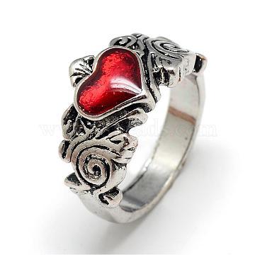 Alloy Enamel Finger Rings, Wide Band Rings, Heart, Size 8, Antique Silver, 18mm(RJEW-S038-096-18mm)