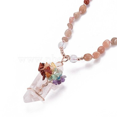 Natural Sunstone Bead Pendant Necklaces(NJEW-K116-A03)-2
