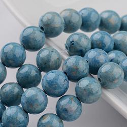 """Chapelets de perles en fossiles naturelles teintées, rond, clair bleu acier , 6mm, trou: 0.8mm; environ 68 pcs/chapelet, 16""""(G-E328-6mm-20)"""