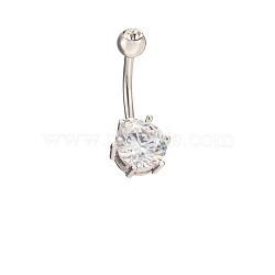 18k platine anneaux bijoux de corps plaqué zircone cubique laiton anneau nombril du ventre, clair, 11x25mm(AJEW-EE0001-05B)