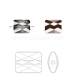Austrian Crystal Rhinestone Beads, 5055, Crystal Passions, Faceted, Mini Rectangle, 001 ROGL_Crystal Rose Gold, 10x8x2mm, Hole: 1mm(X-5055-10x8-001ROGL(U))