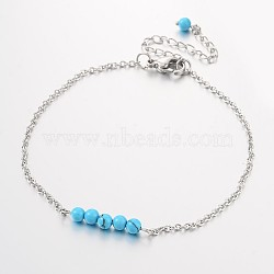 Round Synthetic Turquoise Beads Anklets, with Stainless Steel Chains and  Lobster Clasps, 220x2mm(AJEW-AN00103-01)