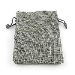 Pochettes en toile de jute, grises , 13.5~14x9.5~10 cm(ABAG-Q050-10x14-04)