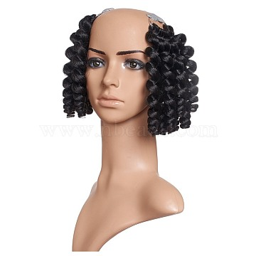 Wand Curly Crochet Hair, African Collection Crochet Braiding Hair, Heat Resistant Low Temperature Fiber, Short & Curly, Black, 8inches(20.3cm)20strands/pc(OHAR-G005-15C)