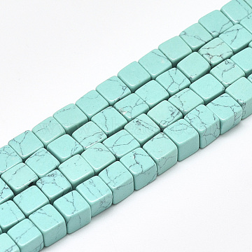 6mm Cube Synthetic Turquoise Beads