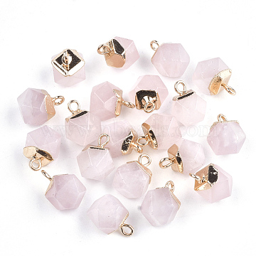 Electroplate Natural Rose Quartz Charms, with Iron Findings, Faceted, Golden, 11~12x8x8mm, Hole: 1.5mm(X-G-S344-08H)