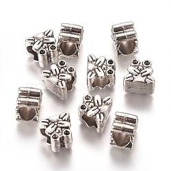 Perles européennes de strass de grand trou en alliage de style tibétain, grenouille, argent antique, 9.5x10.5x7.5mm, trou: 5.5 mm; apte à 1.4 mm strass(TIBEB-L004-050AS)
