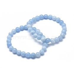 Natural Aquamarine Bead Stretch Bracelets, Round, Dyed, 2inches~2-1/8inches(5.2~5.5cm); Bead: 10mm(X-BJEW-K212-C-018)