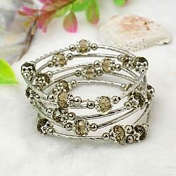 Bracelets enroulés à la mode, avec des perles de verre rondelles, Coupelles de style tibétain , laiton perles de tubes et de fils d'acier de la mémoire, Darkkhaki, diamètre intérieur: 55 mm(X-BJEW-JB00628-11)