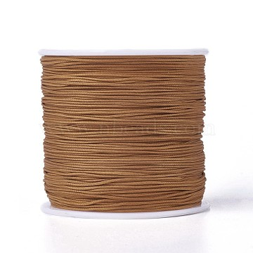 Round String Thread Polyester Fibre Cords, DarkGoldenrod, 0.8mm, about 100m/roll(OCOR-J003-16)