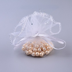 White Jewelry Packing Drawable Pouches, Organza Gift Bags, about 26cm in diameter