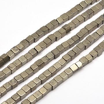 6mm DarkKhaki Cube Pyrite Beads