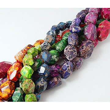Natural Imperial Jasper Beads Strands, Dyed & Heated, Mixed Color, Faceted, Mixed Color, 17~46x13~21x13~21mm, Hole: 1mm; about 12~24pcs/strand, 17.7inches(G-G066-M4)