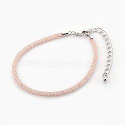 """Bracelets à mailles en laiton, avec perles de verre à l'intérieur et pinces de homard, clair, or rose, 6-7/8"""" (17.6cm) ~ 7-1/4"""" (18.5cm)(BJEW-F358-01RG)"""