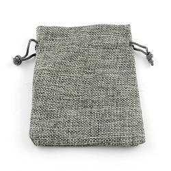 Pochettes en toile de jute, grises , 9x7 cm(X-ABAG-R005-9x7-04)