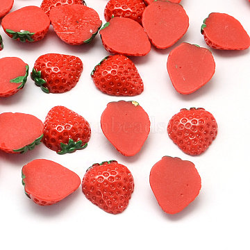 Strawberry Resin Cabochons, Imitation Food, Red, 20x18x7mm(X-CRES-R183-09)