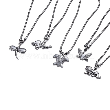 Non-magnetic Synthetic Hematite Necklaces(NJEW-G331-03)-1