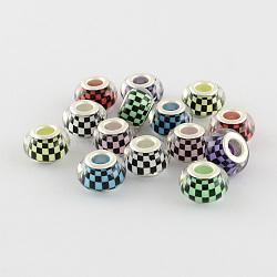 Acryliques de mosaïque perles européennes, laiton avec ton argent noyaux doubles, perles de rondelle avec grand trou , couleur mixte, 14x9mm, Trou: 5mm(X-OPDL-R115-M)