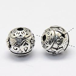 3 laiton -hole perles rondes de bouddha, perles t-percées, sans nickel, argent antique, 15mm, Trou: 1.5mm(KK-P008-57-NF)