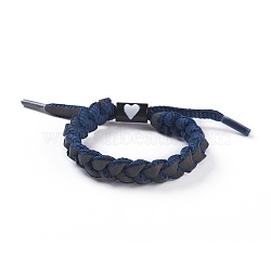 Adjustable Polycotton(Polyester Cotton) Yarn Braided Slider Bracelets, with Zinc Alloy Enamel Findings, PrussianBlue, 1-3/4inches~3inches(4.5~7.5cm)(BJEW-P252-E03)
