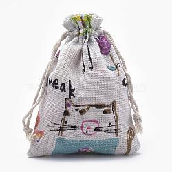 sacs d'emballage en polycoton (polyester coton), avec chat et souris imprimés, oldlace, 14x10 cm(ABAG-T006-A08)
