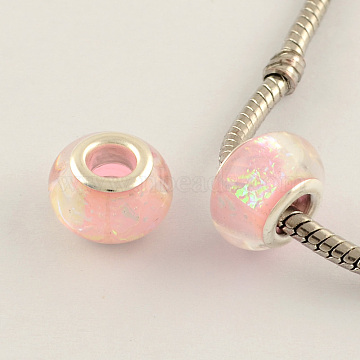 Drawbench Acrylic European Large Hole Beads, with Double Silver Color Plated Brass Cores, Pink, 13.5x9mm, Hole: 4.5mm(X-DACR-S011-09)