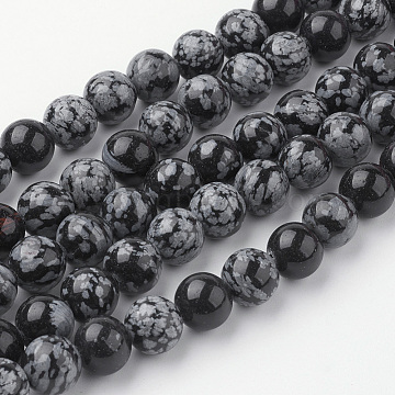 Natural Snowflake Obsidian Bead Strands, Round, 10~10.5mm, Hole: 1.5mm; about 38pcs/strand, 15.3''(39cm)(G-G735-72-10mm)