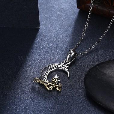 Thai 925 Sterling Silver Kitten Pendant Necklaces(NJEW-BB32717)-4